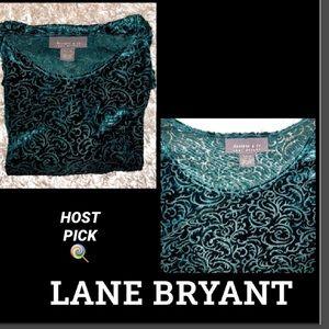 LANE BRYANT Velvet Laser Cut Top